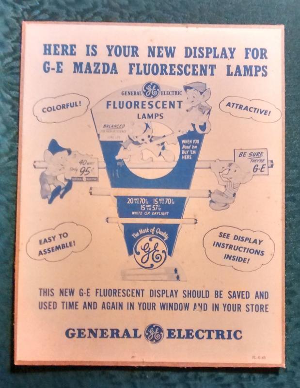 Vernon Grant Elves GE Mazda Lamp Display Card 1945