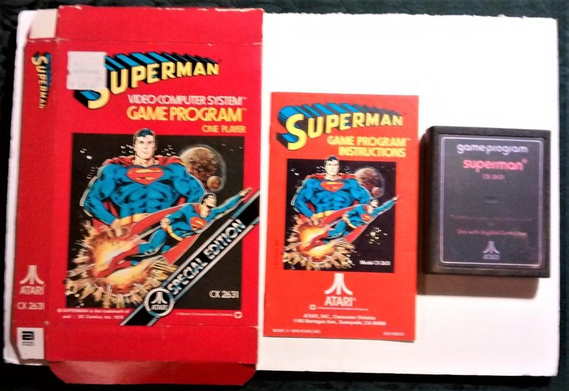 Vintage Atari Game Superman cx2631 w/Box & Instructions Ca. 1979