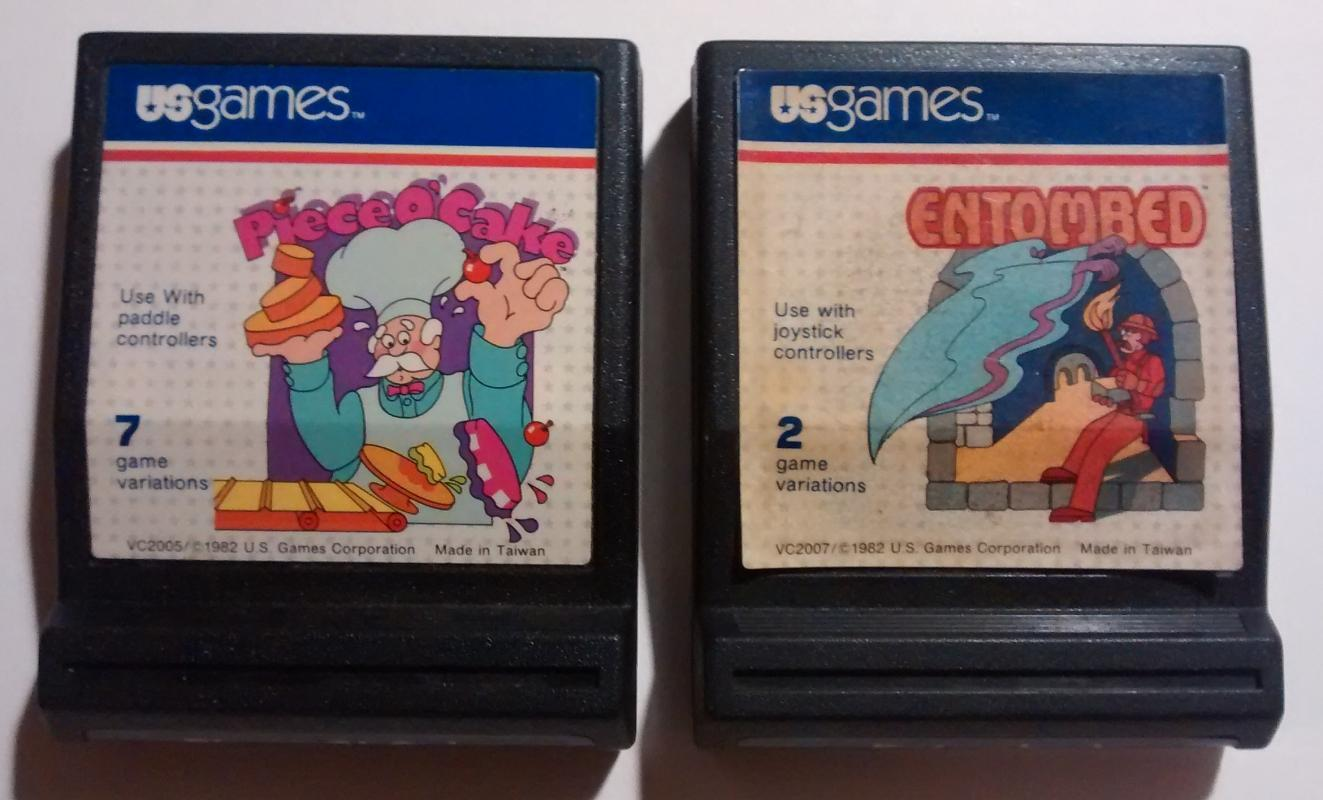 Vintage Atari 2600 Games Piece O'Cake VC2005 & Emtombed VC2007 Cartridges Only
