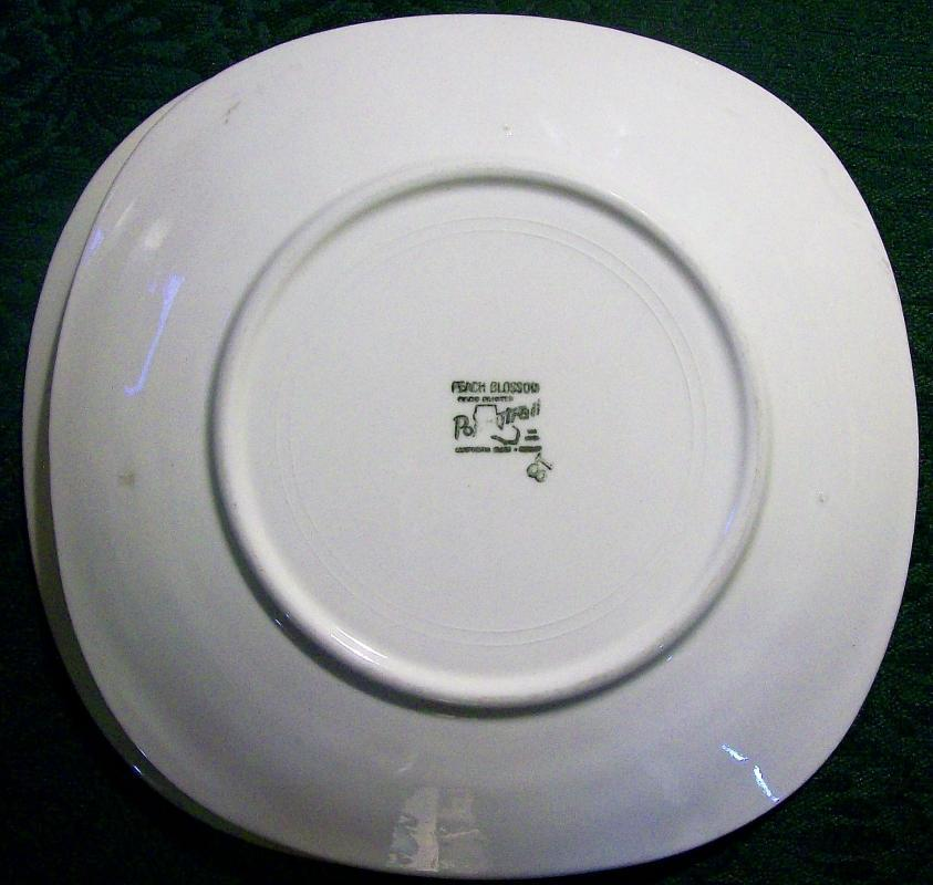 Metlox Poppytrail Peach Blossom Ceramic Plate Pair Ca. 1952-62 7.75