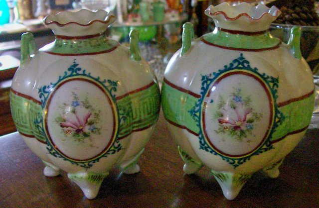 Nippon Era Portrait Vase Pair