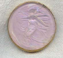 Gabriel Stalin Fairy Brooch Ca. 1900 French Art Glass Piel Freres Pink Luster