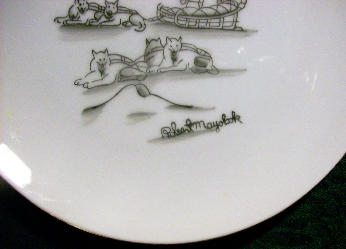 Mayokok Eskimo/ Inupiaq Print Ceramic Plate Alaska Artist Signed 7.25