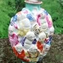 Chinese Porcelain Snuff Bottle Molded in Relief 18 Lohan Ca. 1900