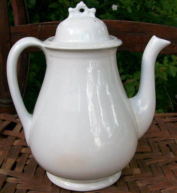 White Ironstone Coffeepot William Taylor England Ca. 1860