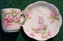 Haviland Limoges China Demitasse Cups & Saucers Set of 2 Pink Floral