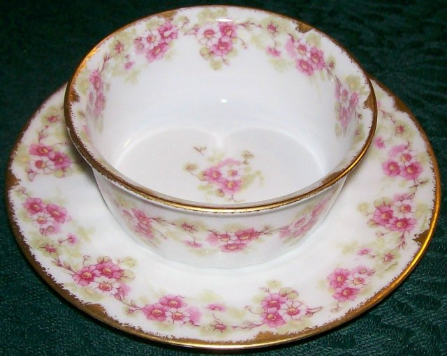 Elite Limoges Ramekin with Saucer Bawo & Dotter Pink Florals Early 1900's