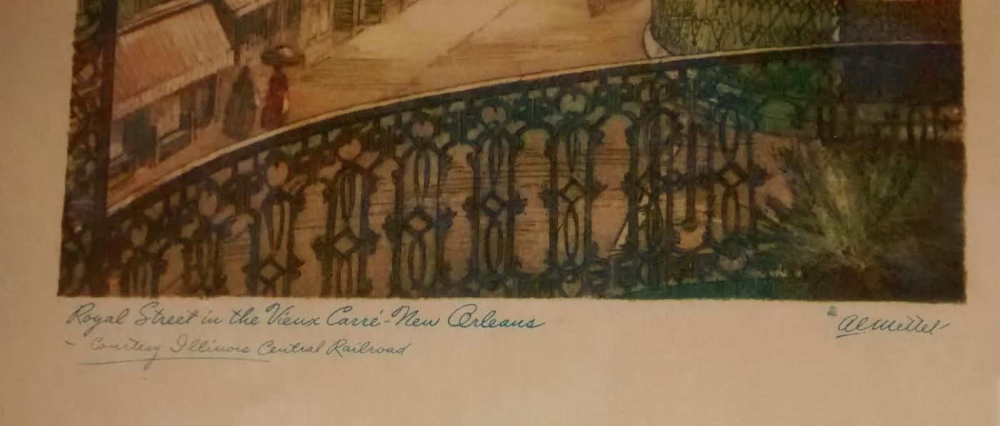 Illinois Central Railroad Promo Prints New Orleans Mettel Set/4