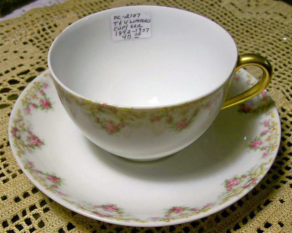 T&V Limoges Cups & Saucers #4290 Pink Roses 1892-1907 Pair