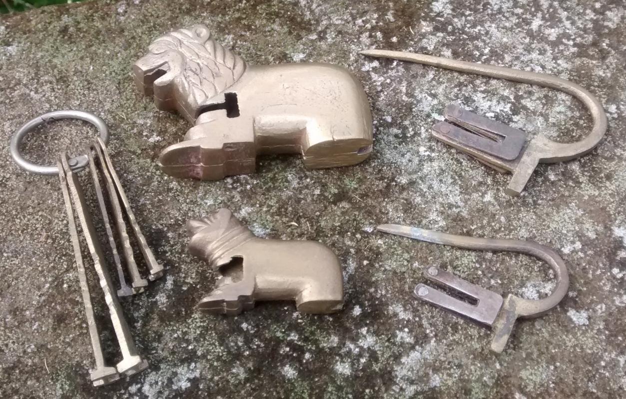 Vintage Brass Locks Figural Lion & Dog with Keys