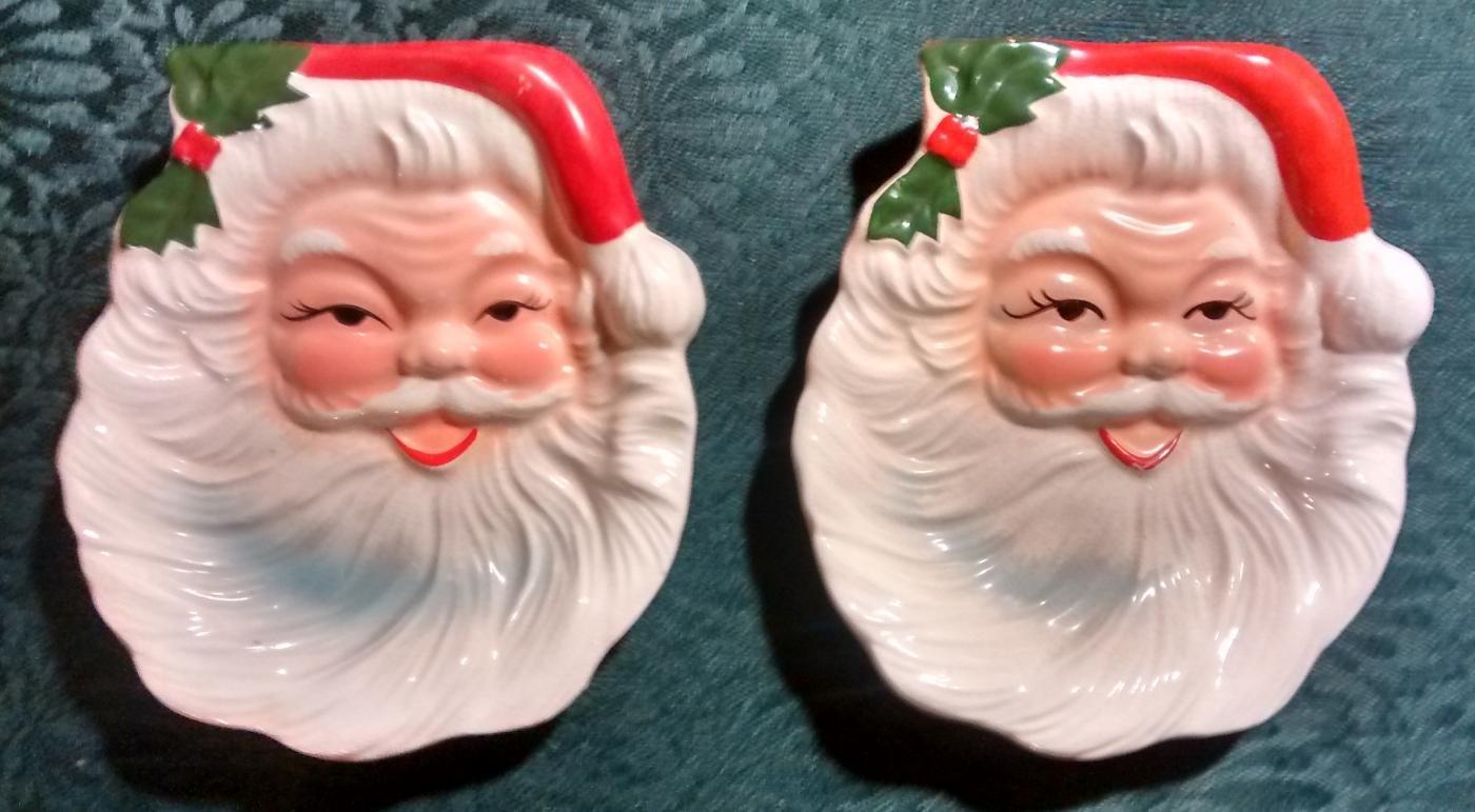 Santa Claus Christmas Ashtray/Candy/Wall Hanging Japan Ceramic