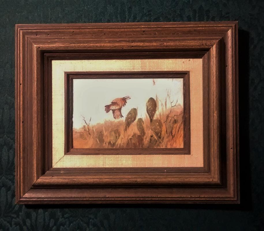 Ron Vaughan Mini Oil Painting Quail & Cactus Texas