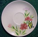 Red Wing Pink Spice Ceramic Saucer Set of 4 Hand-Painted Butterfly/Flowers