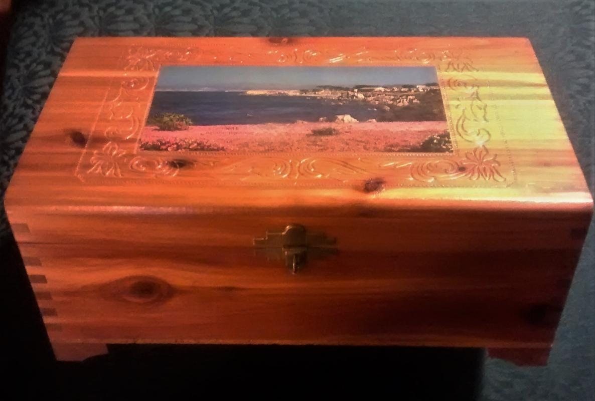 Wood Dresser Box with Mirror Molded Decoration Chromolithograph