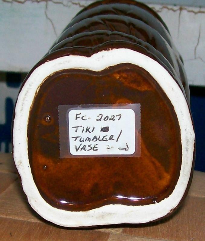 Ceramic Tiki Tumbler/Vase 1960s-70s Brown Glaze