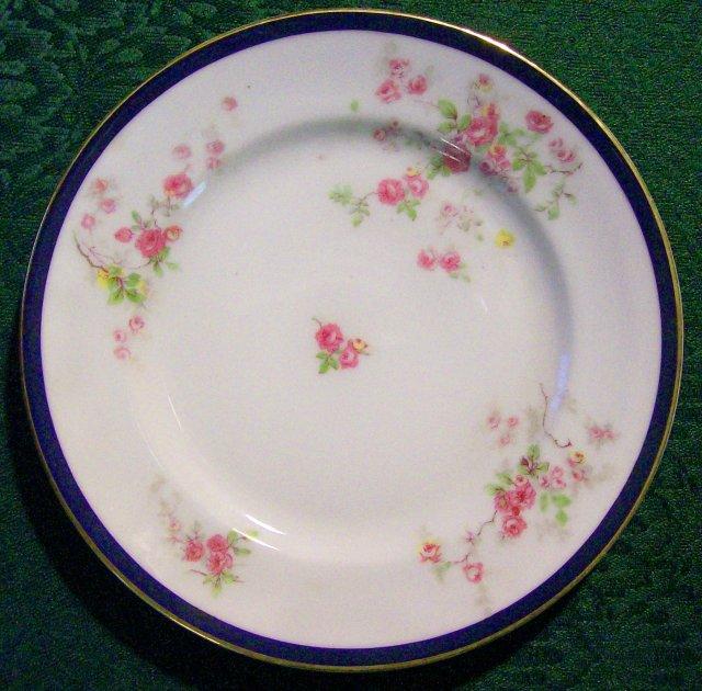 Bassett Czechoslovakia #12699 Ceramic Plate Set of 5 Cobalt Rim/Pink & Yellow Roses 7.75