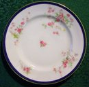 Bassett Czechoslovakia #12699 Ceramic Plate Set of 5 Cobalt Rim/Pink & Yellow Roses 7.75