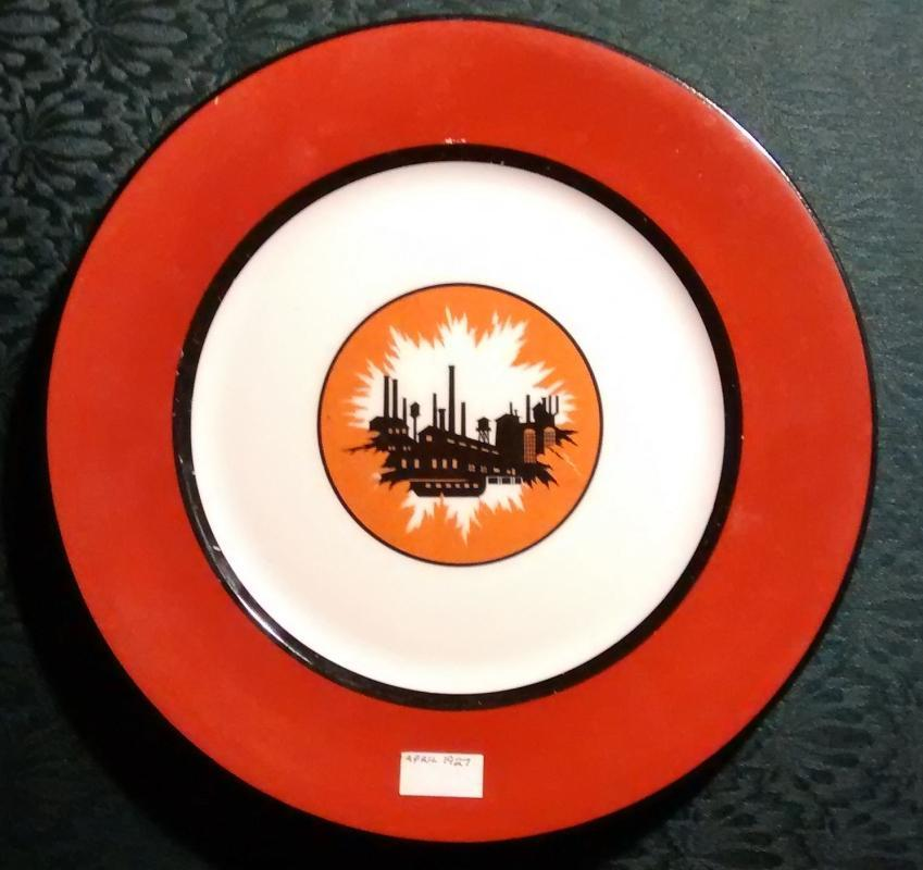 Gary Indiana Steel Mill Ceramic Plate 1927 Syracuse 10.5