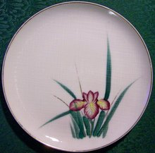 Kutani Ceramic Plate Set with Irises, 10