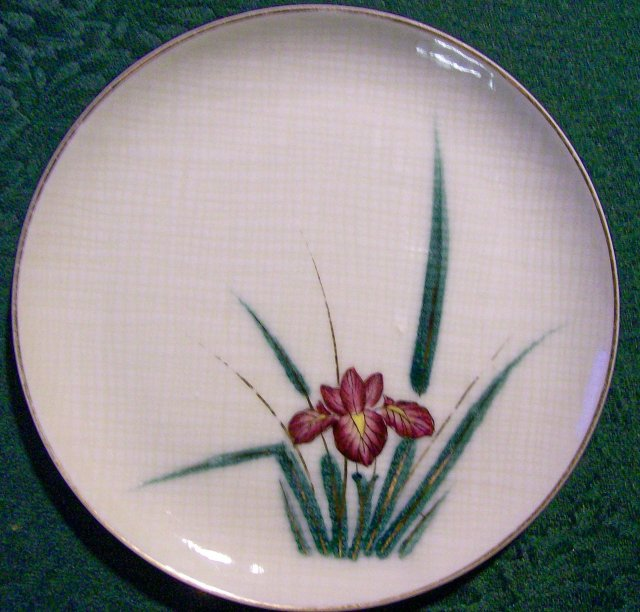 Kutani Ceramic Plate Set with Irises 6.5