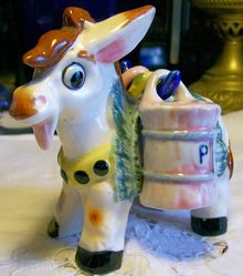 Donkey Figural Ceramic Salt & Pepper Set 1950's Carrier w/ Hanging Shakers