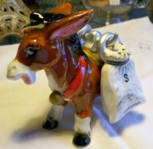 Ceramic Donkey Salt & Pepper Carrier with Sack Shakers 1950's Japan