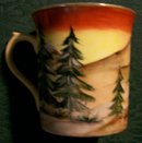 Bavarian-style Hand-Painted Porcelain Mug 1920s Cabin in Woods