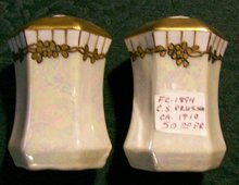 C. S. Prussia Porcelain Salt & Pepper Shakers Luster & Gold Ca. 1910