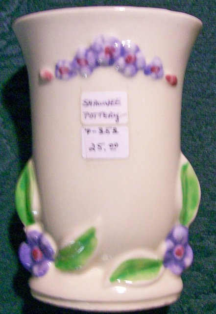 Shawnee Pottery Vase with Flowers #1225 1930's-40's 4 7/8