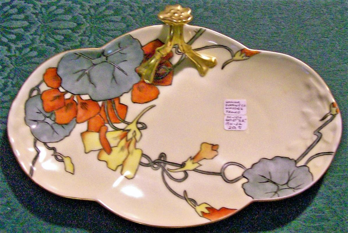 Guerin Split-Handle Tray Art Deco Limoges Porcelain Signed 1920s-30s 11