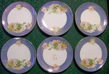 Moschendorf Bavaria Porcelain Plate Set/6 Blue Luster w/ Roses Ca. 1930's 6