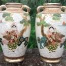Satsuma Ceramic Vase Pair Mirror Image Warrior/Woman with Flute