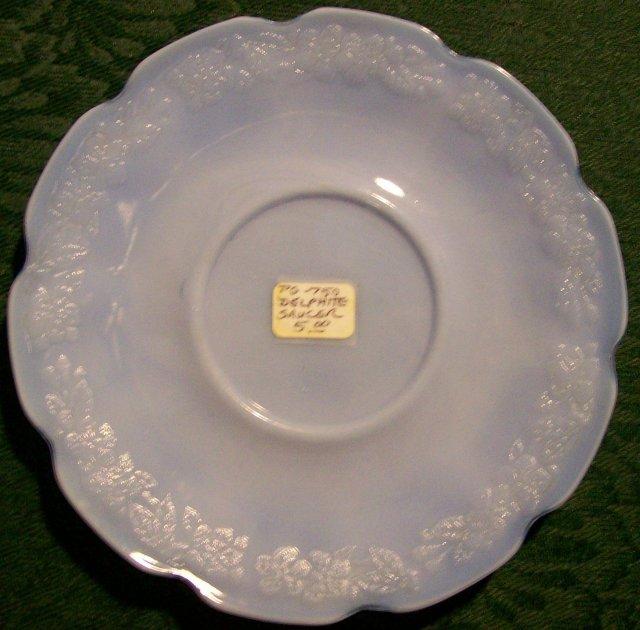 Jeannette Glass Cherry Blossom Saucer Delphite Blue 1930-39