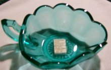 Westmoreland Glass Colonial 1776 Bon Bon Laurel Green 1950's