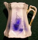 Art Nouveau German Porcelain Cream Pitcher Blue & White Sailing Ship Ca. 1900