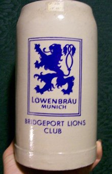 Lowenbrau, Munich Beer Mug: Bridgeport Lions Club