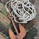 Champ Boat Anchor with Rope Cast Iron/Steel U.S.A. Nautical