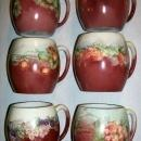 T&V Limoges Porcelain Mug Set Six Different Hand-Painted Fruit Designs
