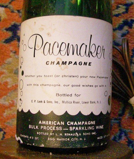 Pacemaker Boat Christening Champagne Bottle Lamp 1950's Egg Harbor City NJ