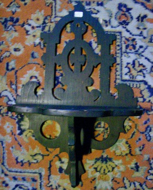 Victorian Bracket Shelf: Hand-Crafted Dark Walnut Wood 17.75