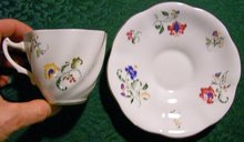 Bone China Cup & Saucer: Royal Imperial England Multi-Color Floral Sprays