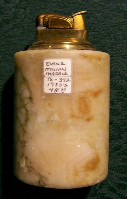 Evans Table Lighter: 1930's Italian Marble NO SPARK AS IS 4.25