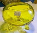 Viking Flora-lite Glass Flower Bowl:Gold:1950's #1007