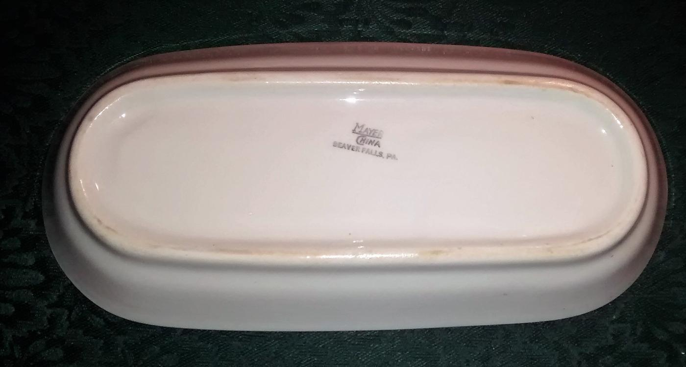 Mayer Arbor / King Pin Celery/Relish 40s-60s Restaurant China Red/White 10.25
