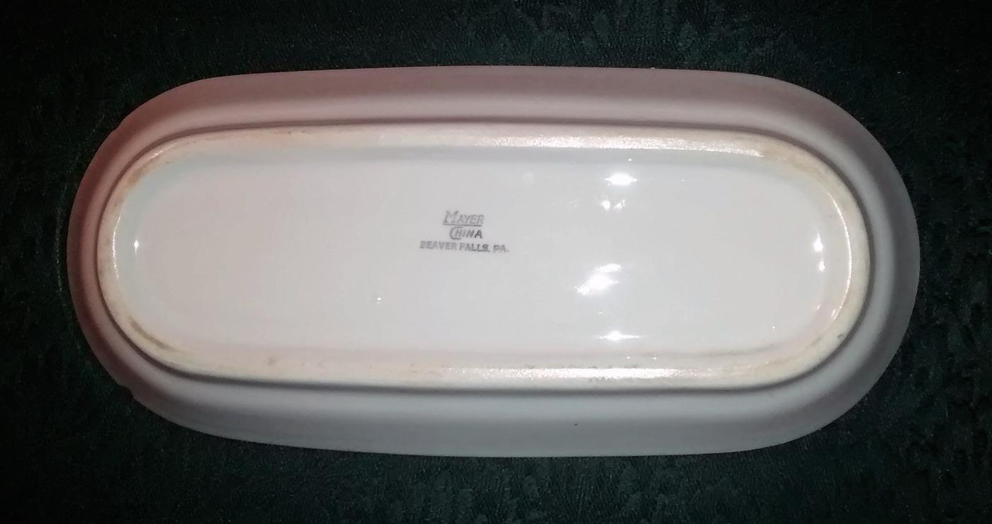 Mayer Arbor / King Pin Celery/Relish 40s-60s Restaurant China Red/Wh 10.25