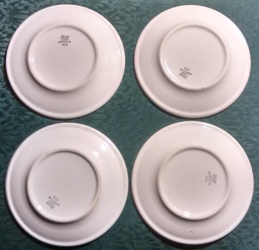 Mayer Arbor / King Pin Plate Set/4 40s-60s Restaurant China Red/Wh 6.25
