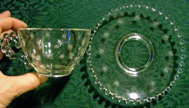Imperial Glass Candlewick Starlight Cut #108 Cup & Saucer Clear 1937-61
