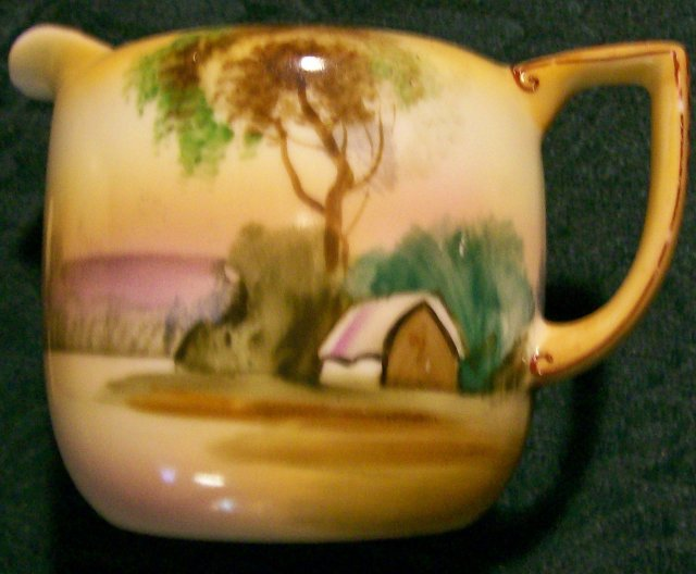 Noritake Porcelain Cream & Sugar with Lid: Landscape Scenery 1920's-30's
