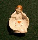 Bathing Beauty Card Suit Ceramic Ashtray 1930's Japan