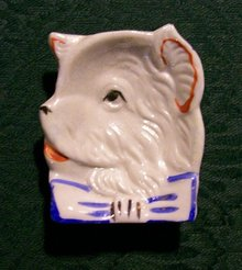 Terrier Dog Ceramic Ashtray Japan Luster 1930's